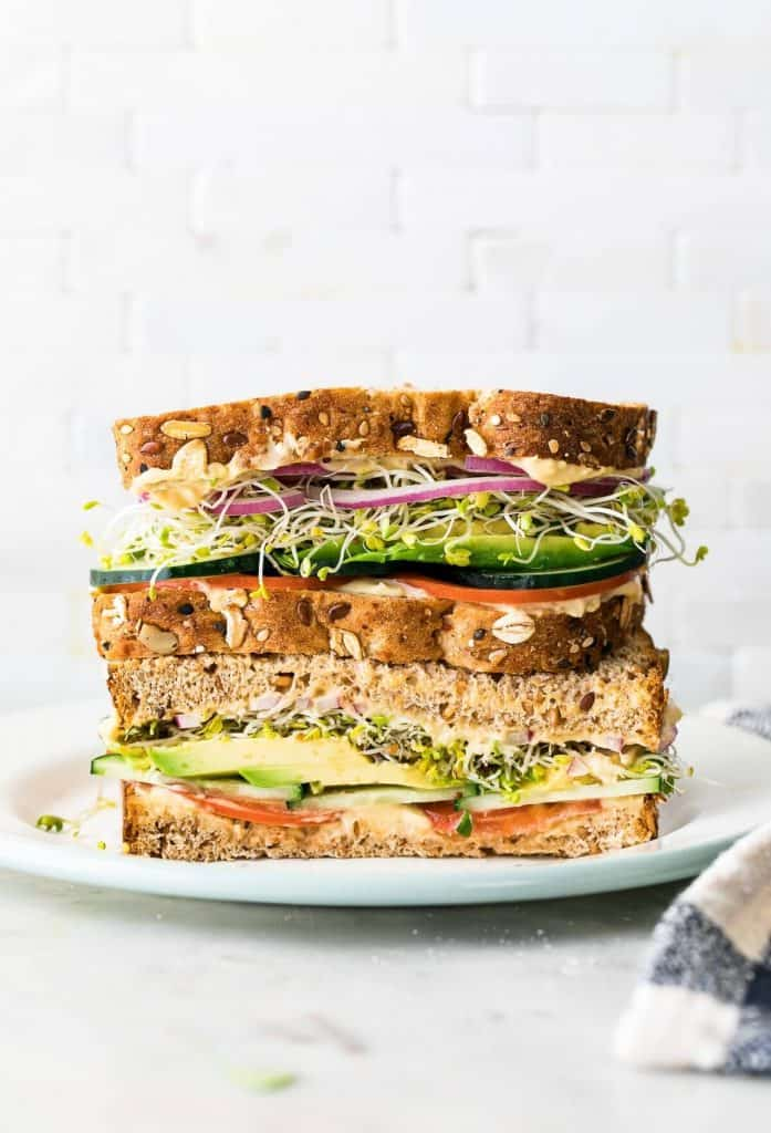 2 sandwich halves stalked on top of each other with avocado, tomatoes, and greens