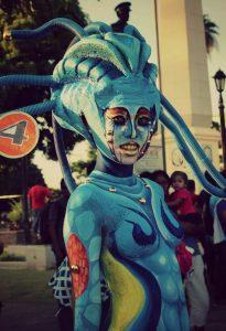 A women dressed as an alien.