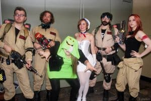 A group of friends dressed up as the Ghostbusters for Halloween.