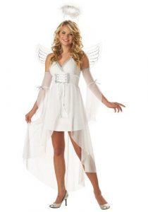A women dressed up as an angel.