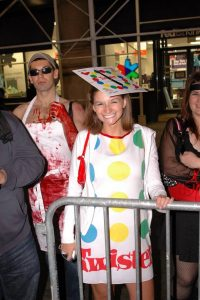 A women dressed up as Twister for Halloween,