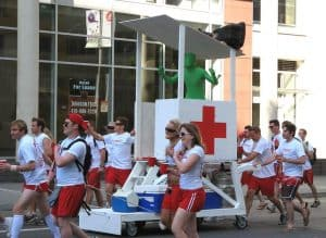 A group of people dressed up as lifeguards.