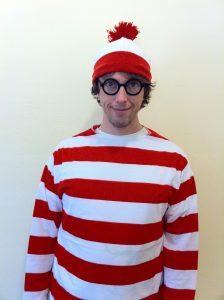 A man dressed as Where's Waldo.