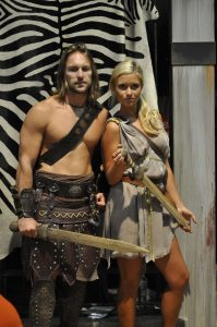 A couple dressed up as gladiators.