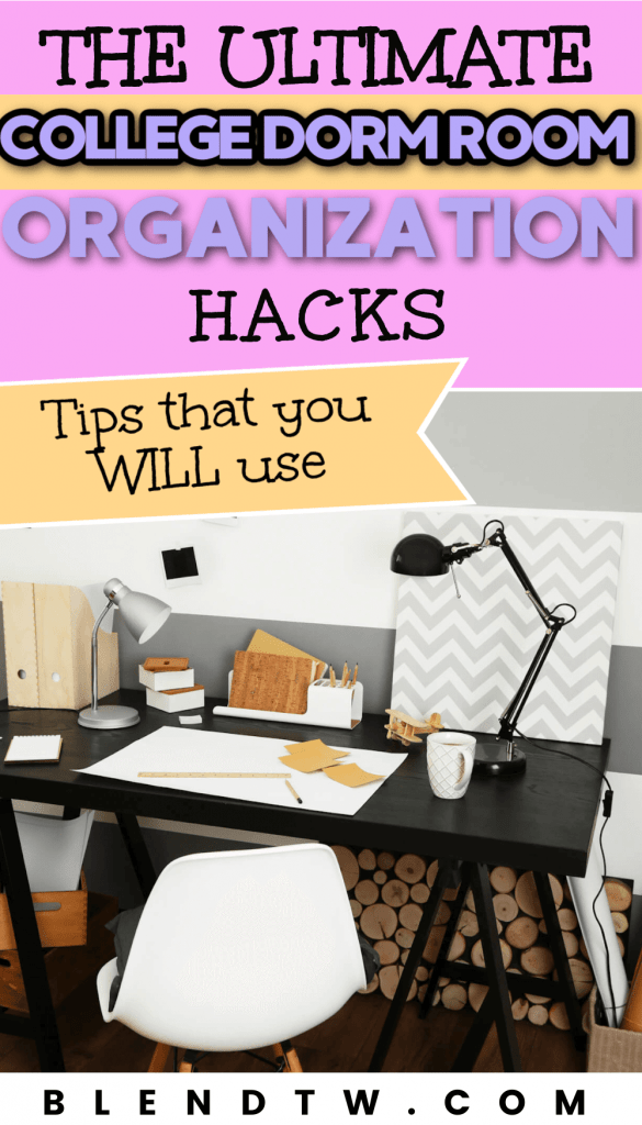 Pin for the ultimate college dorm room organization hacks.