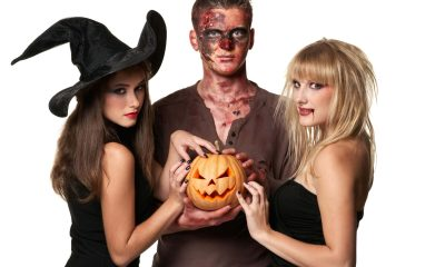 3 people are in their Halloween costumes