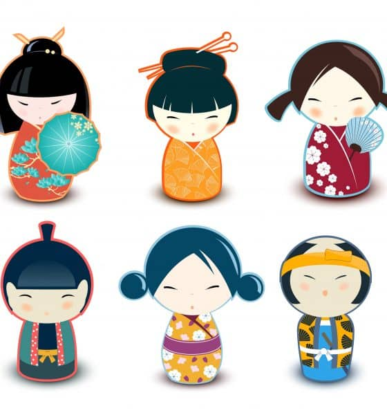 Six small Japanese figures wearing different clothing.