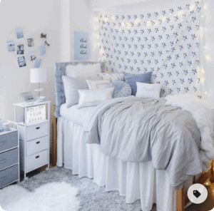 dorm room with light blue color theme