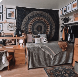 a bedroom with theme color