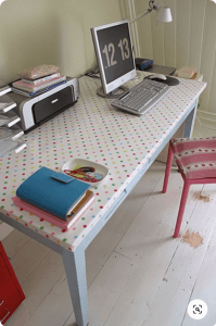 A working desk with colorful dots