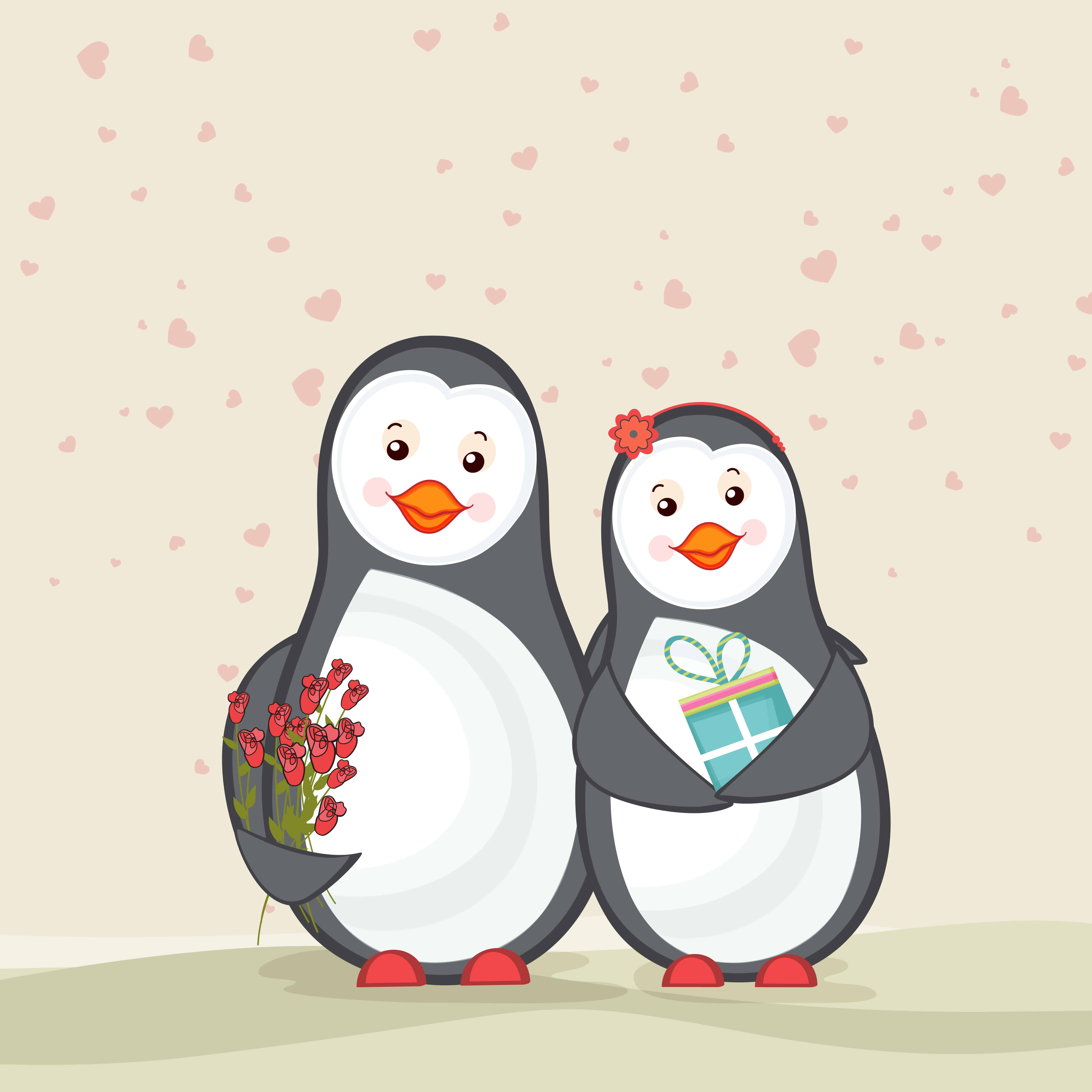 2 animated penguins are standing next to each other, the female penguin is holding a gift