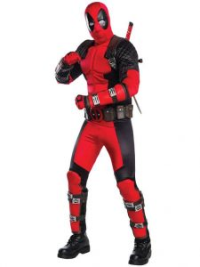 A man dressed as Deadpool.