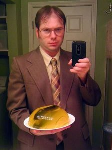 A man dressed as Dwight Schrute.