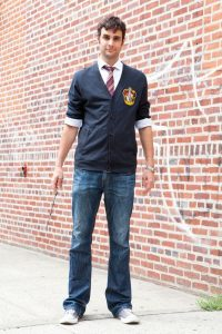 A man dressed as harry potter.
