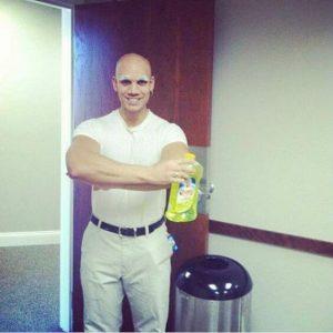A man dressed as Mr. Clean.