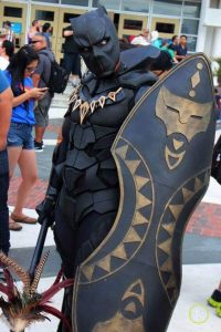 A man dressed as Black Panther.