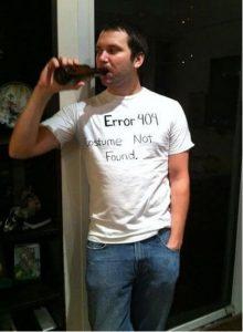 A man dressed as a 404 error.