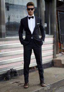 Man dressed as James Bond.