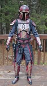 A man dressed as the Mandalorian.