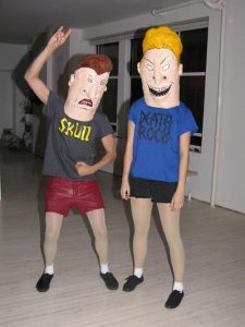 Two friends dressed as Beavis and Butthead.