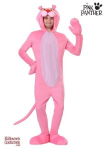 A man dressed as pink panther.