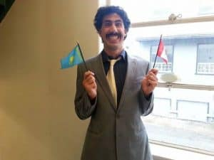 A man dressed up as Borat.