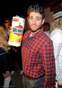 A man dressed as the Brawny Man.