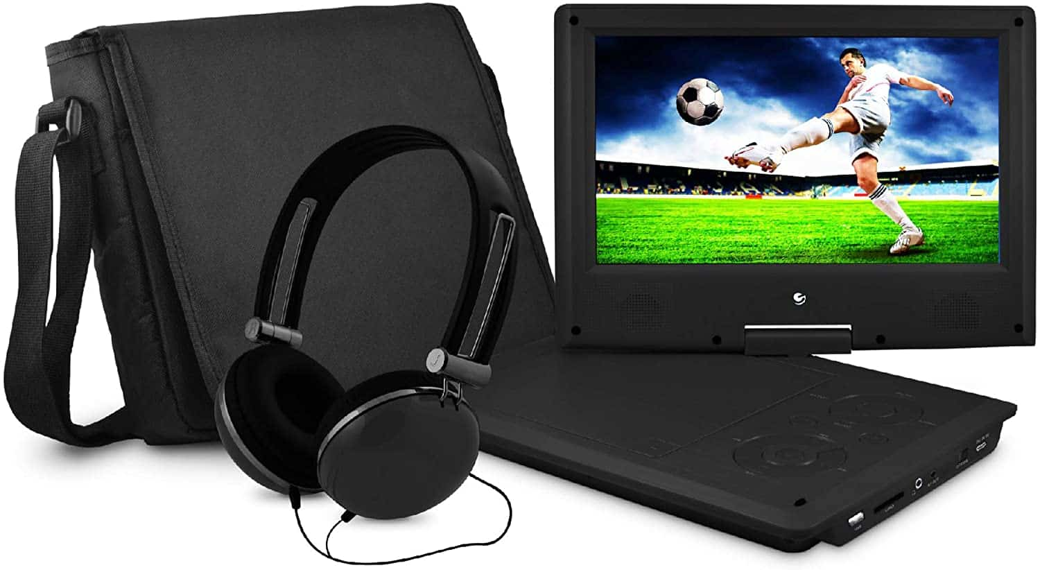 Portable DVD Player with Matching Headphones and Bag