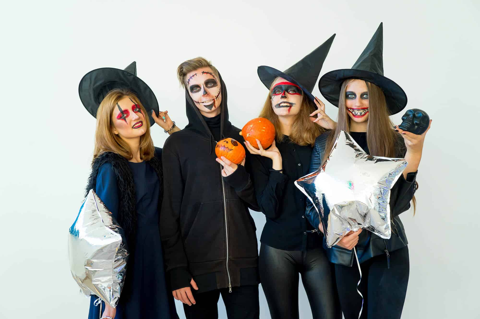 College students wearing last minute Halloween costumes