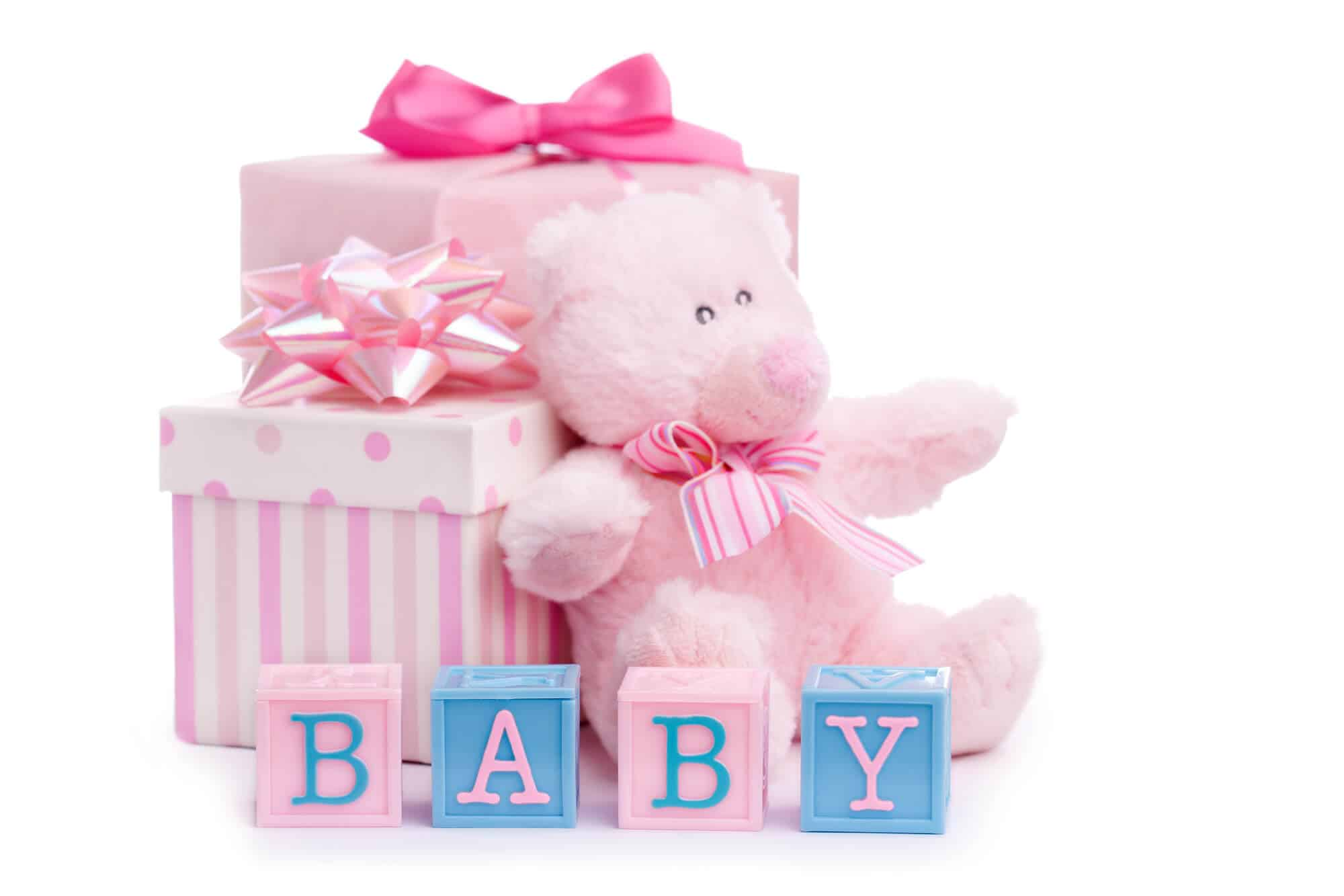 BABY sign with pink presents and a pink bear