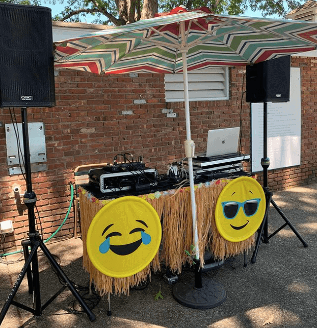 A JD booth decorated with emoji stickers