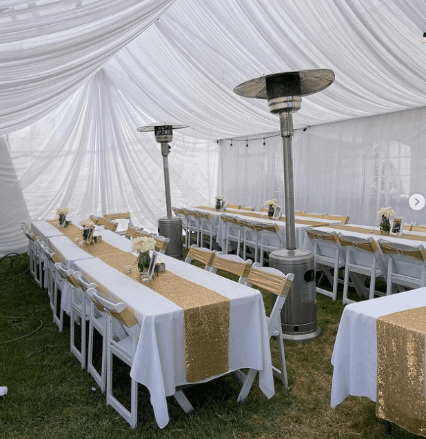 An outdoor setting with tables and chairs