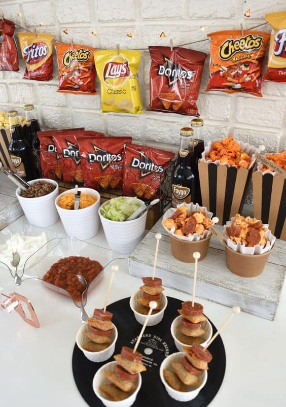 A group of snacks and drinks on a table