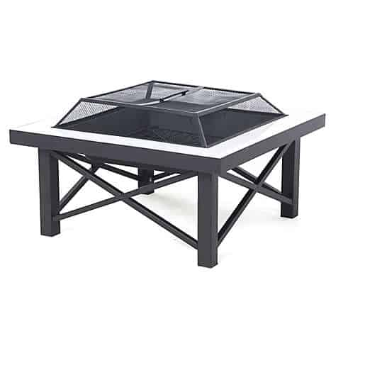 W Home™ Stonington Tile-Top Steel Wood-Burning Fire Pit with Protective Cover in Black
