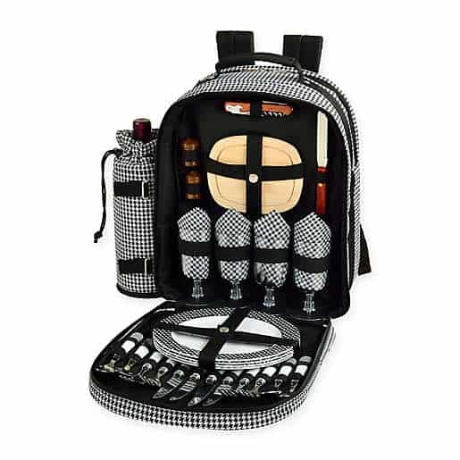 Picnic at Ascot Houndstooth Collection 4-Person Picnic Backpack in Black/White