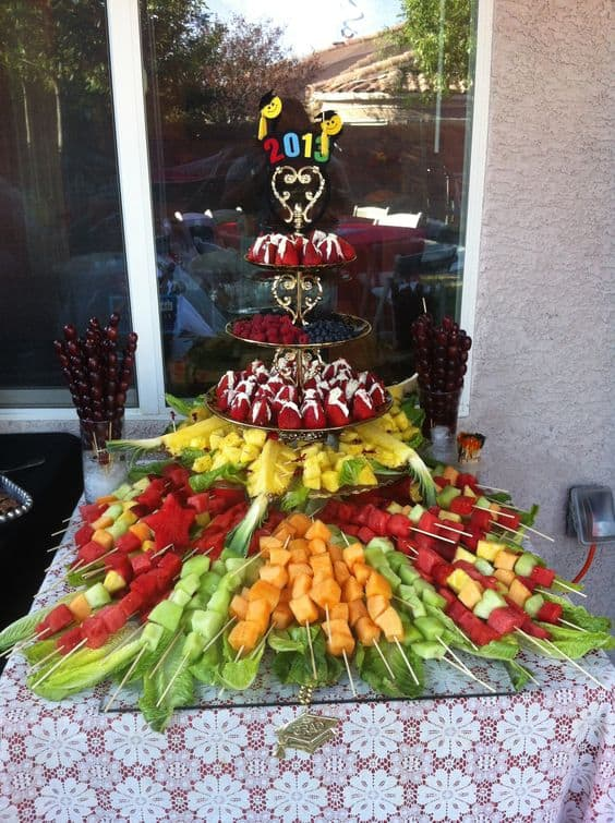 A decorated setting of fruits