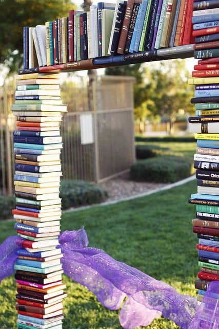 A stack of books in a shape of a door