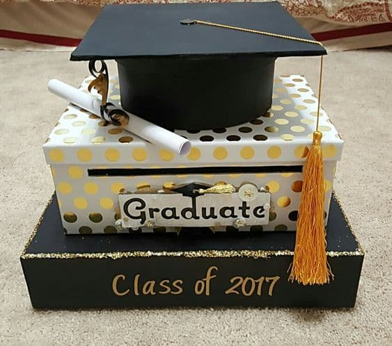 grad decorated card boxes