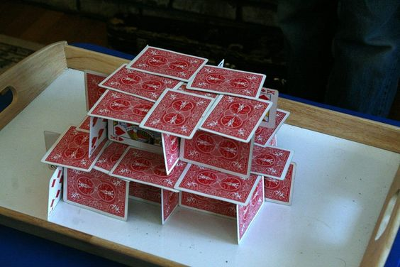 A house of cards on a table