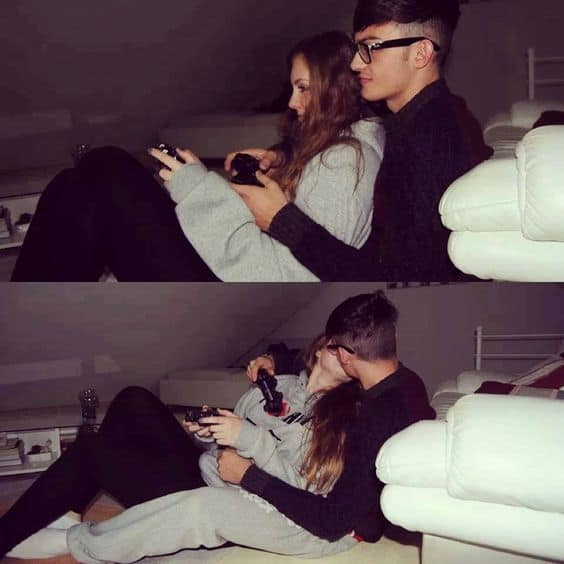 A couple playing video games with another picture of them kissing