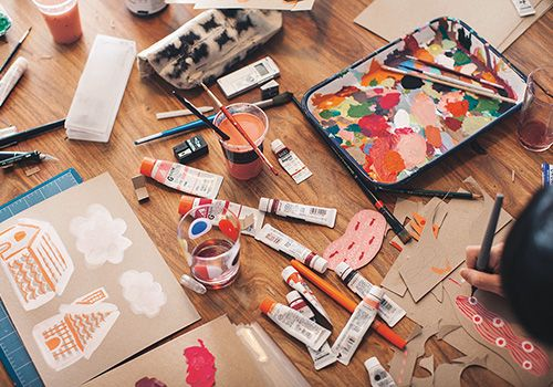 Painting materials on the floor