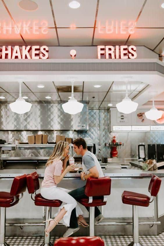 A couple at a diner