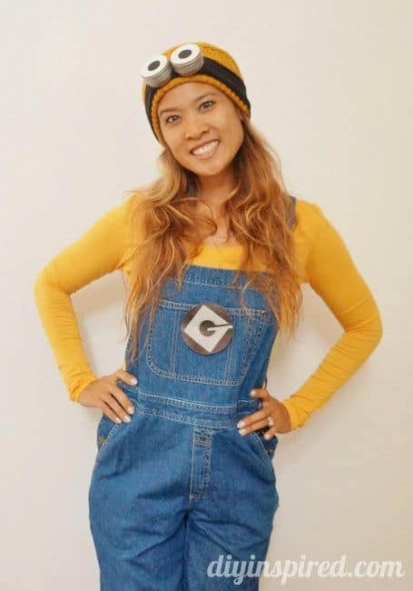 A woman wearing a minion costume