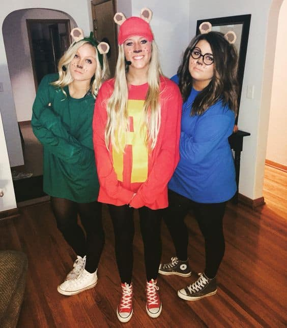 Three girls in alvin and the chipmunks costumes with face drawings