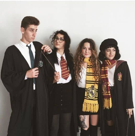 A group of friends dressed as Hogwarts students