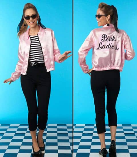 A girl wearing a pink ladies jackets
