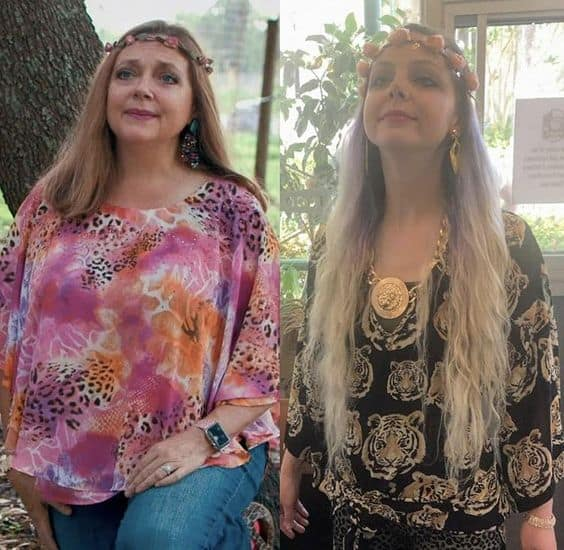 Two women dressed in Carole Baskin outfits