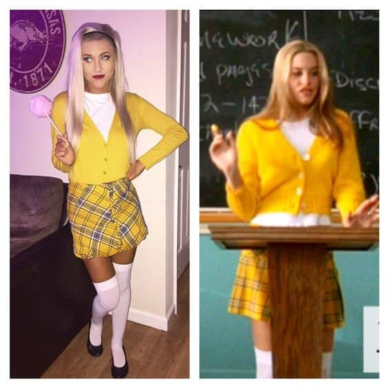 A girl in clueless themed outfits