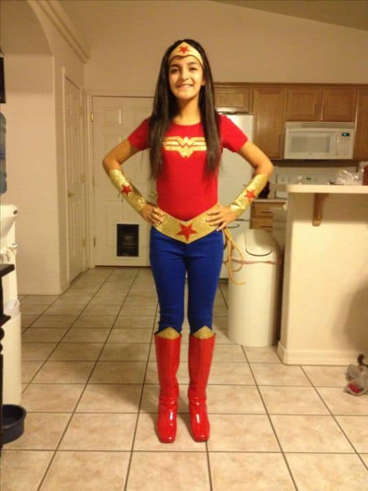 A girl in a wonder woman costume