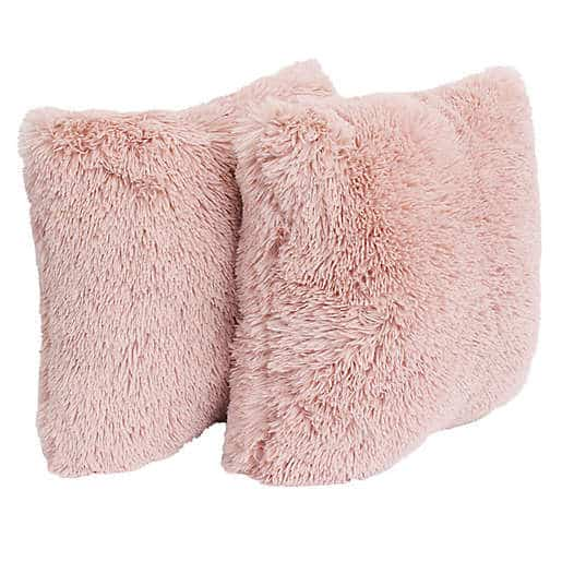 Thro Chubby Faux Fur Square Decorative Pillows (Set of 2)